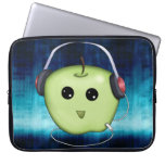 Happy Green Apple With Headphones Laptop Sleeve