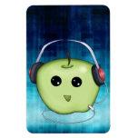 Happy Green Apple With Headphones Rectangle Magnet
