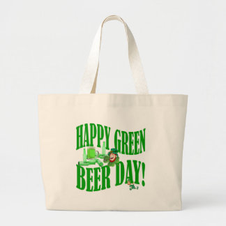 Happy green beer day large tote bag