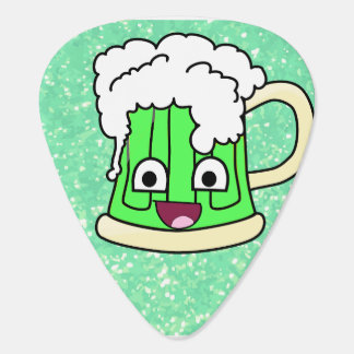 Happy Green Beer On Green Glitter Guitar Pick