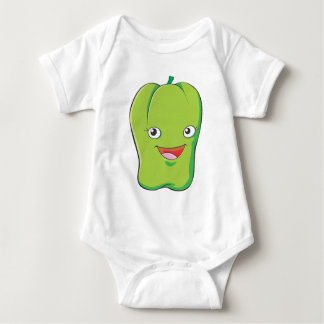 Happy Green Bell Pepper Vegetable Smiling Baby Bodysuit