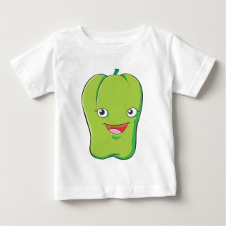Happy Green Bell Pepper Vegetable Smiling Baby T-Shirt