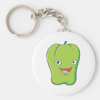 Happy Green Bell Pepper Vegetable Smiling Keychain