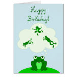 Happy Green Birthday with Leap-Dreaming Frog! Stationery Note Card