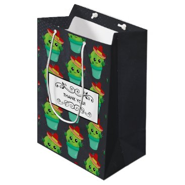 Happy Green Cactus in a Red Sombrero Pattern Medium Gift Bag
