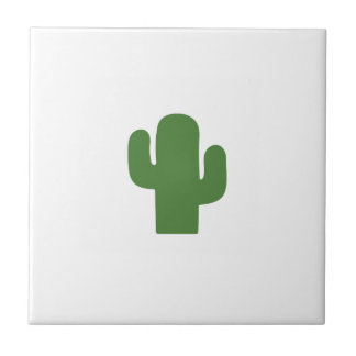 Happy green cactus in pink summer tile