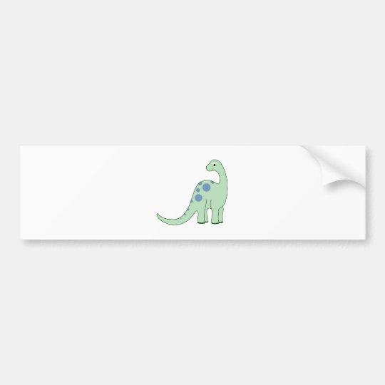 Happy Green Cartoon Dinosaur Bumper Sticker