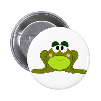 Happy Green Cartoon Frog Button