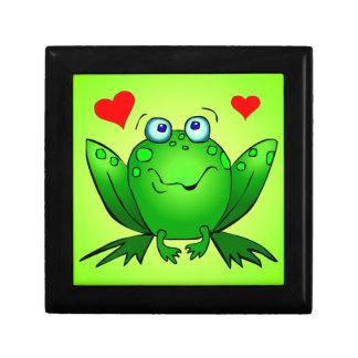 Happy Green Cartoon Frog Love Hearts Jewelry Box