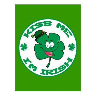 Happy-Green-Clover KISS ME I'M IRISH cartoon Postcard