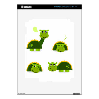 Happy green Dinos on white. Original design. Skin For iPad 3