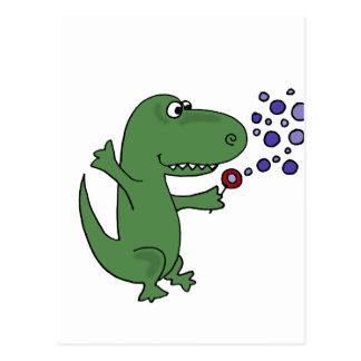 Happy Green Dinosaur Blowing Bubbles Postcard