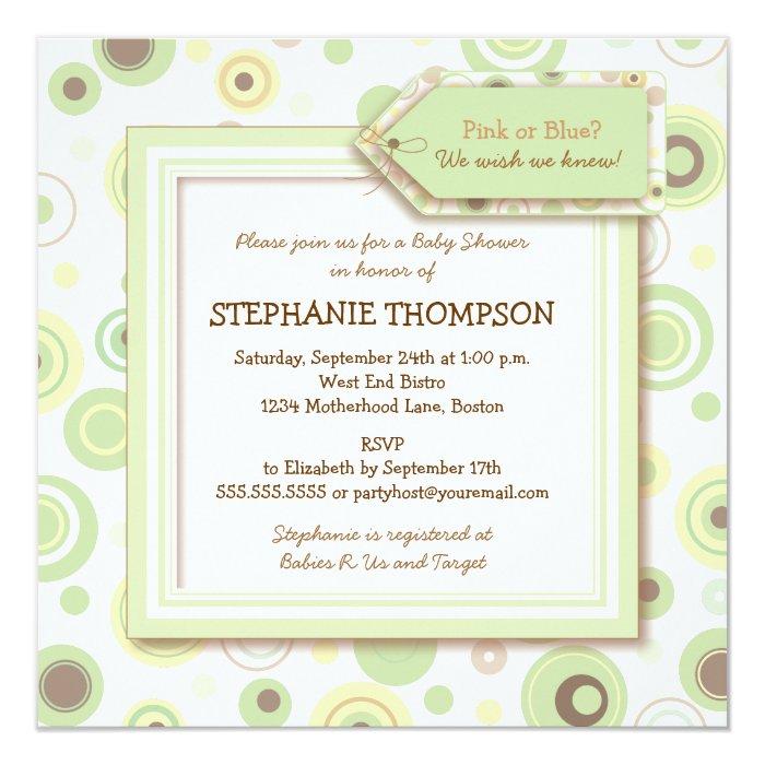 Happy Green Dots Neutral Baby Shower Invitation