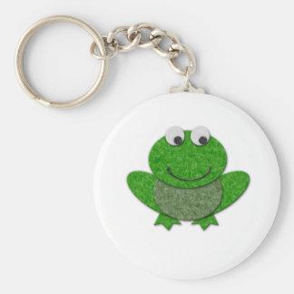 Happy Green Frog Basic Round Button Keychain