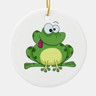 Happy Green Frog Ceramic Ornament