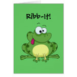 Happy Green Frog Greeting Card