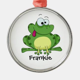 Happy Green Frog Metal Ornament