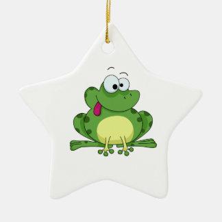 Happy Green Frog Ornament