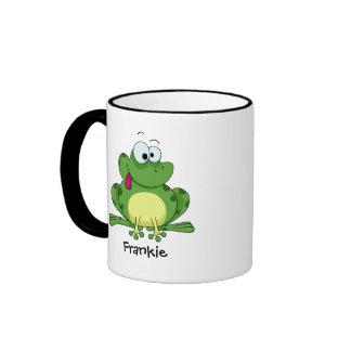 Happy Green Frog Ringer Mug