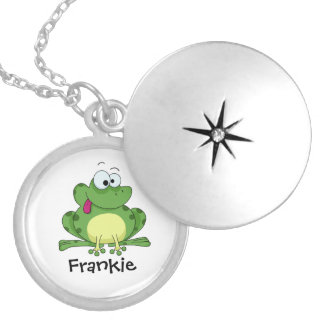 Happy Green Frog Silver Plated Necklace