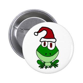 Happy Green Frog Wearing Santa Hat 2 Inch Round Button