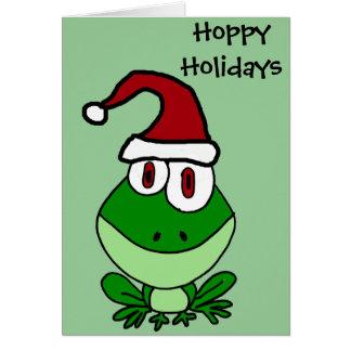 Happy Green Frog Wearing Santa Hat Card