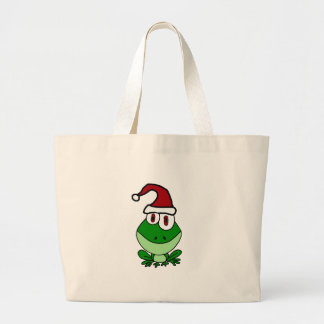 Happy Green Frog Wearing Santa Hat Large Tote Bag