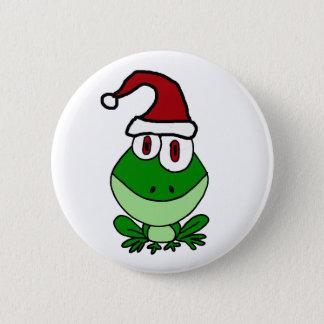 Happy Green Frog Wearing Santa Hat Pinback Button