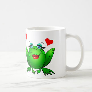 Happy Green Frogs Cute Cartoon Animals Classic White Coffee Mug