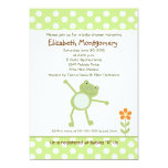Happy Green Leap Frog Baby Shower Invitations