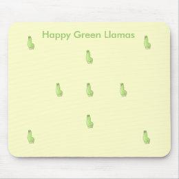 happy green llama Mousepad