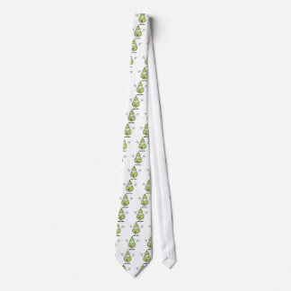 Happy Green Pear Cartoon Character Neck Tie