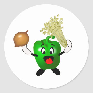 Happy Green Pepper Cajun Cooking Holy Trinity Classic Round Sticker
