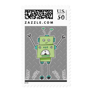 Happy Green Robot and Metal Springs Postage