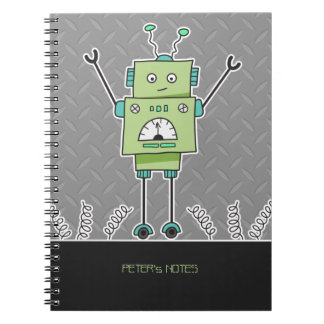 Happy Green Robot & Metal Springs Personalized Spiral Note Books