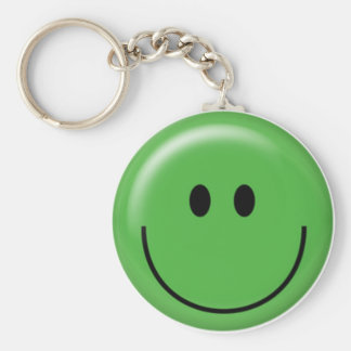 Happy green smiley face basic round button keychain