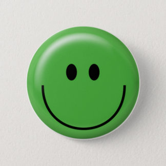 Happy green smiley face button