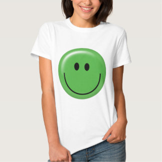 Happy green smiley face t shirt