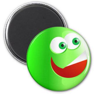 Happy Green Smilie 2 Inch Round Magnet