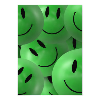 HAPPY GREEN SMILIE FACES CIRCLES LAYERED PATTERN W 5X7 PAPER INVITATION CARD