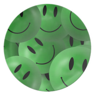HAPPY GREEN SMILIE FACES CIRCLES LAYERED PATTERN W DINNER PLATE