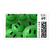 HAPPY GREEN SMILIE FACES CIRCLES LAYERED PATTERN W STAMP