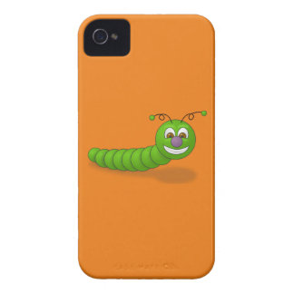 Happy Green Smiling Cartoon Worm with Brown Eyes iPhone 4 Cover