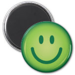 Happy green smiling smiley face 2 inch round magnet