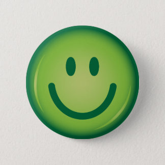 Happy green smiling smiley face button