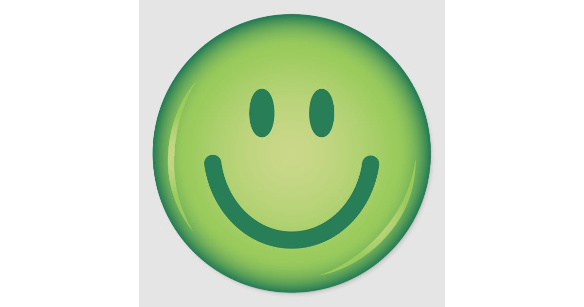 Happy green smiling smiley face classic round sticker ...