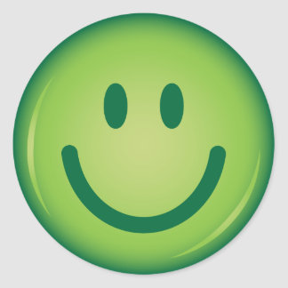 Happy green smiling smiley face classic round sticker