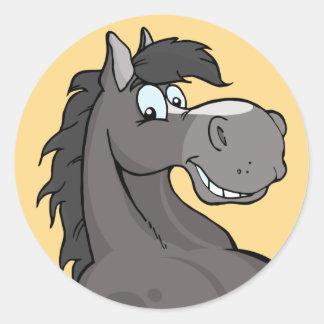 Happy Grey Horse Classic Round Sticker