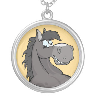 Happy Grey Horse Silver Plated Necklace
