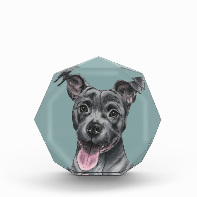Happy Grey Pit Bull Dog Drawing